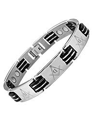 MasonicMan New Mens Titanium Masonic Magnetic Bracelet In Black Velvet Gift B...