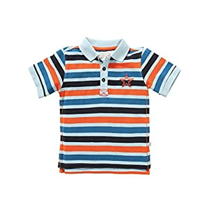 Rockin' Baby Big Boys Multi Color Striped Pattern Star Polo Paul Tee 8-10