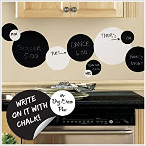 Peel & Stick By RoomMates Black and White Chalkboard Dots Wall Decals from Room-mates