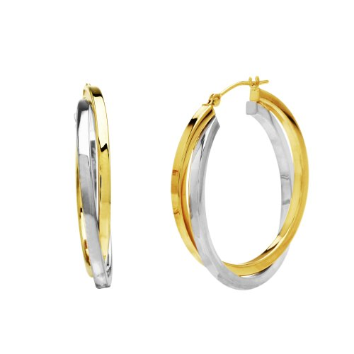 Bonded Sterling Silver and 14k Two-Tone Gold Crossover Hoop Earrings