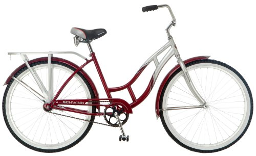 Schwinn Women's Sanctuary Cruiser Bicycle (26-Inch Wheels), Silver/Red, 16-Inch