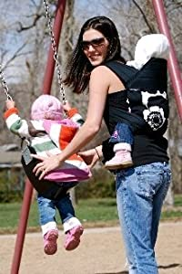 BabyHawk Oh Snap Baby Carrier Sophia Black on Black Straps with Dainty Baby Reusable Bag Bundle