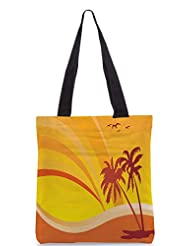 Snoogg Summer Design With Palm Tree And Rainbow Background Designer Poly Canvas Tote Bag