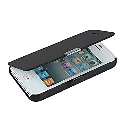 "iPhone 4s Case, iPhone 4 case, MTRONXâ""¢ Magnetic Ultra Folio Flip Slim Leather Twill Case Cover Pouch for for iPhone 4s iPhone 4 (Black)"