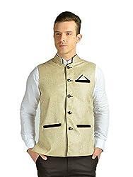 FDN Men's Jute Waistcoat (CRM775_Cream_M)
