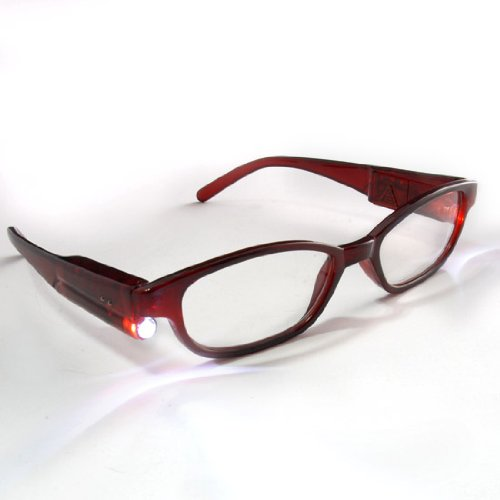 Hand Free Bedroom Clamping Hiking Nightlight LED Reader Reading Glasses +1.50 w/ Case & Batteries