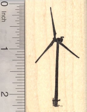 Wind Turbine Rubber Stamp, Windmill, Wind Power,