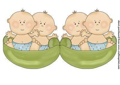 Twin Jungen pea pod Form Karte von Sharon Poore