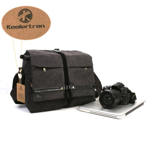Koolertron Waterproof Canvas Shoulder Camera Bag Video Portable Carry Case DSLR Laptop Bag for Sony Canon Nikon Olympus Pentax 14