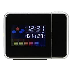 1 X MuchBuy Function Digital Weather Projection Wake-Up Alarm Clock, LED Backlight, Temperature & Calendar Display