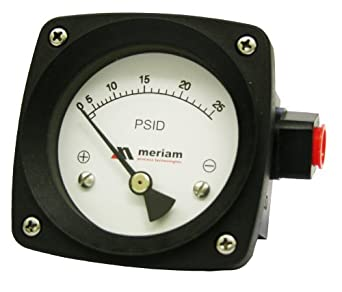 "Meriam 200 Series 316 Stainless Steel Piston Gauge with Buna-N Seal, 0-50 psid Range, 4.5"" Dial, +/- 2% Accuracy, 1/4"" NPT Female Connection"