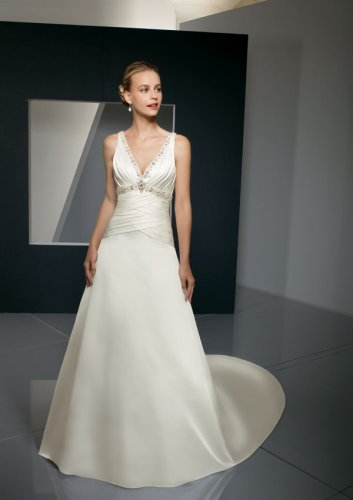Satin-Faced Taffeta with Embroidered Trim Wedding Gown
