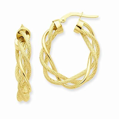 14k Yellow Gold Polished & Satin Twisted Hoop Earrings (15mm x 6mm)