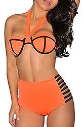 Fashion Sexy Padded Boho Fringe Bandeau Strapless Two Piece Bikini Bathing Suit