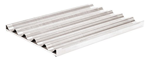 Paderno World Cuisine Aluminum Baguette Pan, 23-8/8 by 15-3/4-Inch, Gray