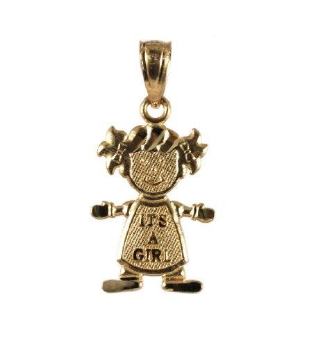 14k Yellow Gold It's a Girl Charm Pendant