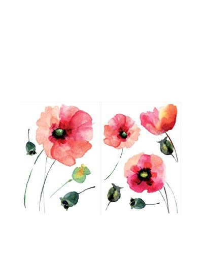 Brewster 2-Sheet Watercolor Poppies Wall Decal Kit