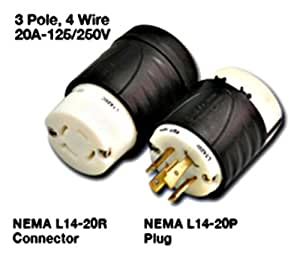 3 pole 4 wire 20a 125 250v locking plugs connectors. Black Bedroom Furniture Sets. Home Design Ideas