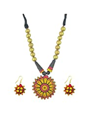 "ARTWOOD ""Mann Se Mayuri"" Maroon Golden 3-piece Organic TerraCotta Jewellery Set"