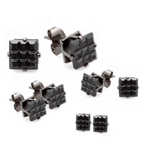 Black Stud Earrings Sets Invisible Clear CZ Cubic Zirconia 7MM, 6MM, 5MM & 4MM Blackout Mens Ladies Unisex Pushback Post