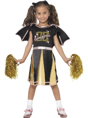 Cheerleader Bat Costume, Black and Yellow, 3-4 Years Girl Fancy Dress