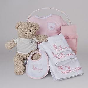 Canastilla regalo bebé SPA Bebe Esencial de BebeDeParis-Rosa- cesta regalo recién nacido