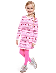 2 Piece Cotton Rich Fair Isle Knitted Dress & Tights Outfit