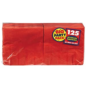 Big Party Pack Beverage Napkins 5-Inch, 125/Pkg, Apple Red