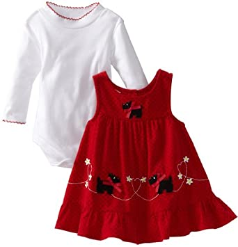 Blueberi Boulevard Baby-girls Newborn Scotty Dogs and Hearts Printed Cord Jumper With Knit Body Suit, Red, 3-6 Months