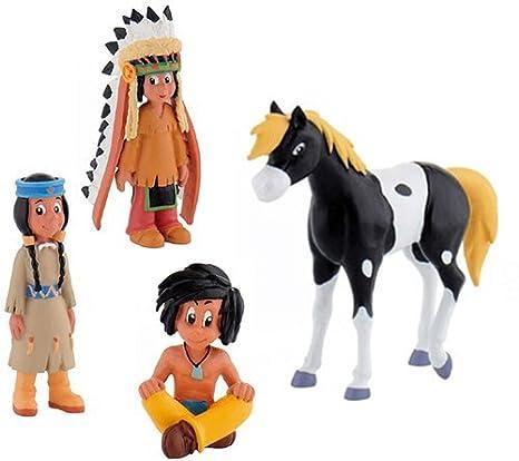 Bullyland Yakari Set 4 Figurines - Yakari avec coiffe Petit-tonnerre Arc-en-ciel Petit Blaireau