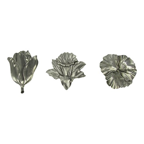 Solid Pewter Flower Refrigerator Magnet Gift Set (Set Of 3)
