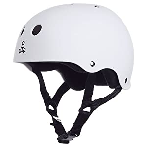 Triple 8 Brainsaver Rubber Helmet with Sweatsaver Liner (White Rubber, Medium)