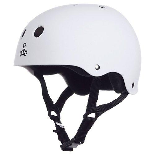 Triple 8 Brainsaver Rubber Helmet with Sweatsaver Liner (White Rubber, Large)