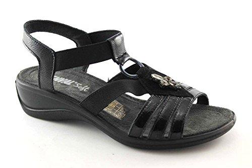 ENVAL 59620 nero sandali donna soft suola gomma flessibile elastico 41