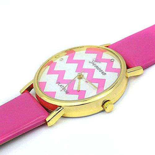 Zps(Tm) Moire Watch Pu Leather Quartz Wrist Watches(Hot Pink)