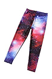 Timemory Little Girls 3D Print Leggings Child Red Tights (Galaxy M)