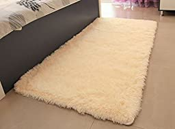 ACTCUT Super Soft Modern Shag Area Silky Smooth Rugs Living Room Carpet Bedroom Rug for Children Play Solid Home Decorator Floor Rug and Carpets 4- Feet By 5- Feet (Beige)