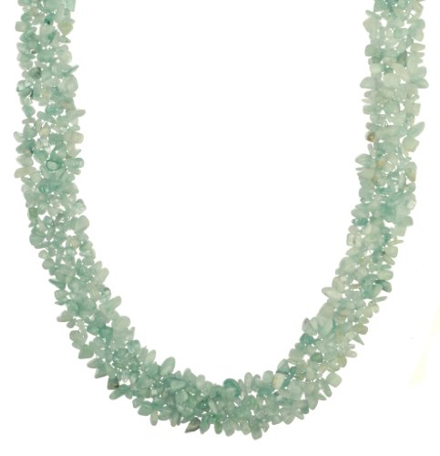 Woven Aquamarine Chip Necklace with Base Metal Clasp, 18