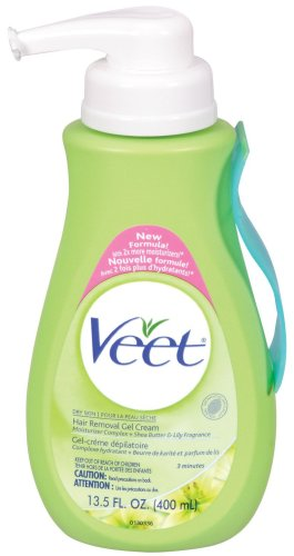 Veet Hair Removal Gel Cream, Dry Skin, Shea Butter & Lily, 13.5-Ounce Pump Bottles (Pack of 2)