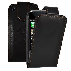 Klapp Etui Leder Schutz Hülle Tasche für iPhone 3GS Schwarz