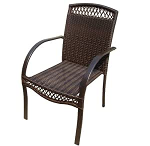 DC America SSR183-FC, Soho All Weather Wicker Chair, Heavy Duty Steel Frame with Rust Resistant Powder Coated Bronze Finish
