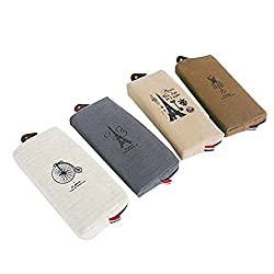 Eforstore 4 Pcs Pastorable Canvas Pen Bag Pencil Case Cosmetic Makeup Bag Pouch (4 Pcs Paris Eiffel Tower)