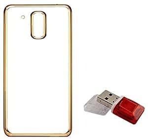 Tidel Golden border Soft Flexible TPU Back Cover for Motorola Moto G4 Play / Moto G Play (4th Gen)- Gold With Data Card Readar