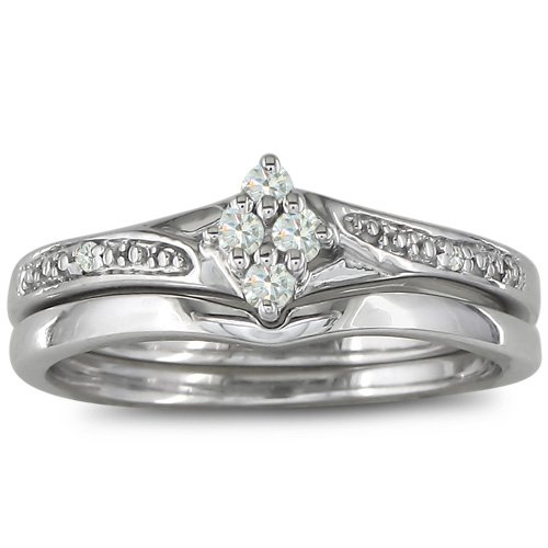 Affordable Finely Crafted Diamond Bridal Wedding Ring Set in Sterling Silver