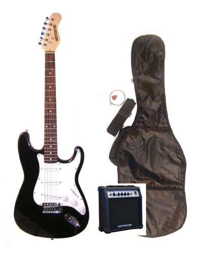 "39"" Full Size Black Electric Guitar With 10 Watt Amp (Includes, Gig Bag, Whammy Bar, Strap, Cable, Pick, Strings & Directlycheap(Tm) Translucent Blue Medium Guitar Pick)"