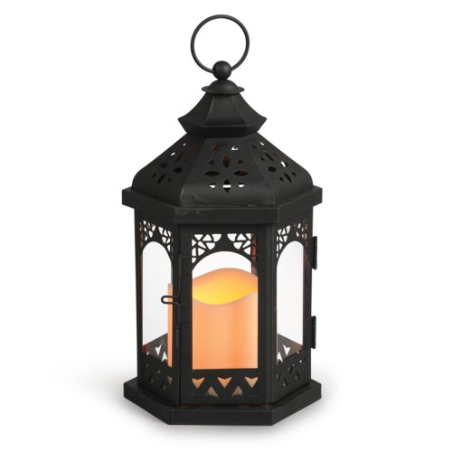 Gerson 10-Inch Black Metal Gazebo Lantern With 3 By 3-Inch Indoor/Outdoor Led Candle