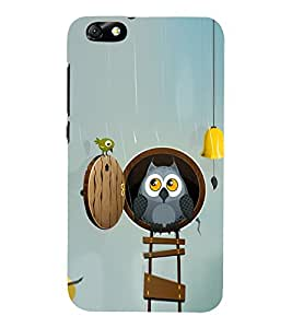 Cute Owl and a Bird 3D Hard Polycarbonate Designer Back Case Cover for Huawei Honor 4X :: Huawei Glory Play 4X