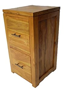Buying Guide of  Two drawer bedside cabinet / cd chest in solid teak wood 32m x 32cm x 60cm