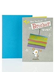 Brother Dog & Cake Birthday Card