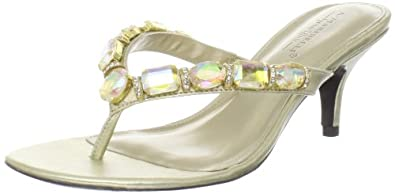 A. Marinelli Women's Cut Thong Sandal,Gold/Irridescent,6.5 M US